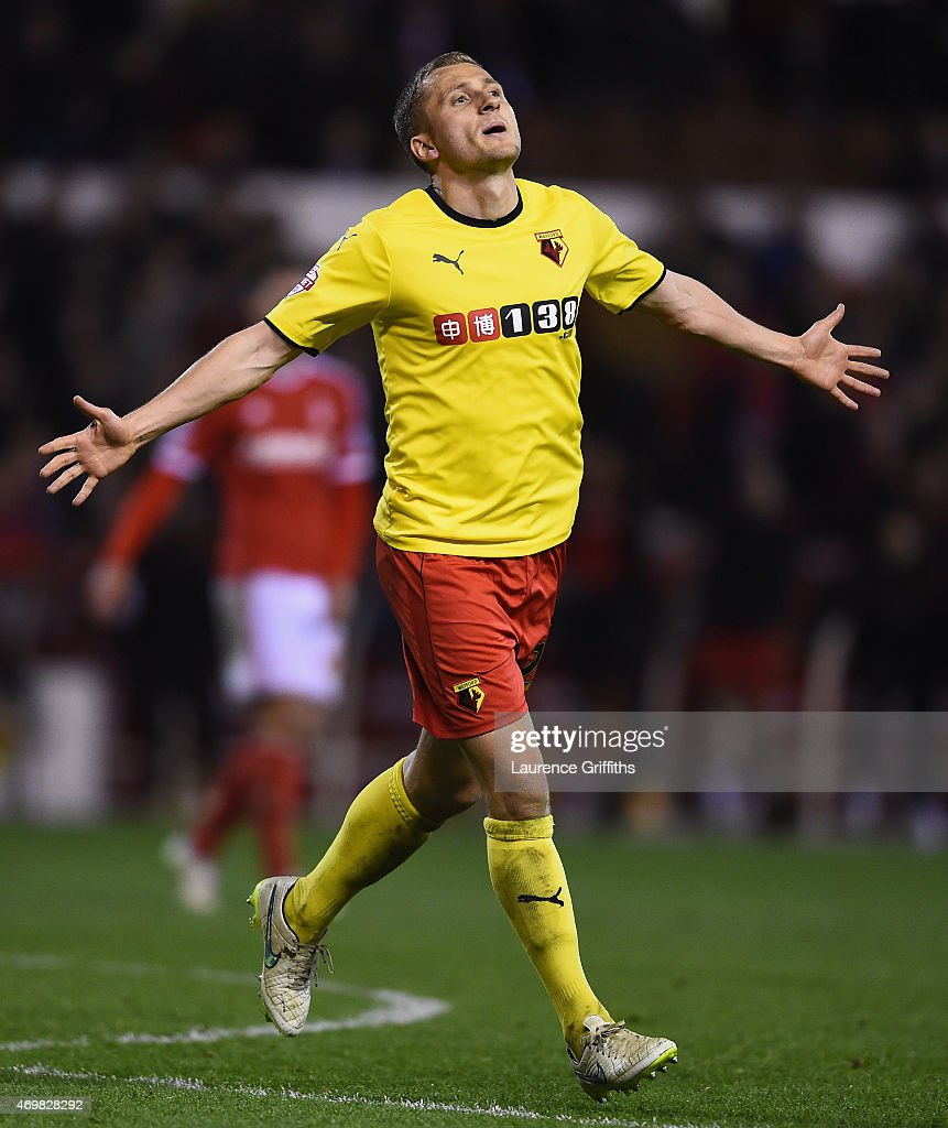 Almen Abdi of Watford celebrates scoring their third goal during the Sky Bet Championship match between Nottingham Forest and Watford at City Ground on April 15, 2015 in Nottingham, England.