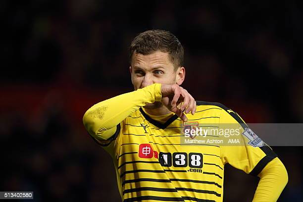 Almen Abdi of Watford during the Barclays Premier League match between Manchester United and Watford at Old Trafford on March 02 2016 in Manchester...