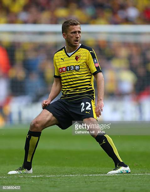 Almen Abdi of Watford during The Emirates FA Cup semi final match between Watford and Crystal Palace at Wembley Stadium on April 24 2016 in London...