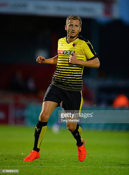 Almen Abdi of Watford during the PreSeason Friendly match between Stevenage and Watford at The Lamex Stadium on July 14 2016 in Stevenage England