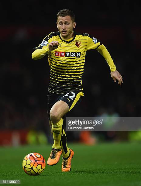 Almen Abdi of Watford in action during the Barclays Premier League match between Manchester United and Watford at Old Trafford on March 2 2016 in...