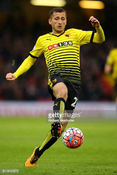 Almen Abdi of Watford in action during The Emirates FA Cup Fifth Round match between Watford and Leeds United at Vicarage Road on February 20 2016 in...