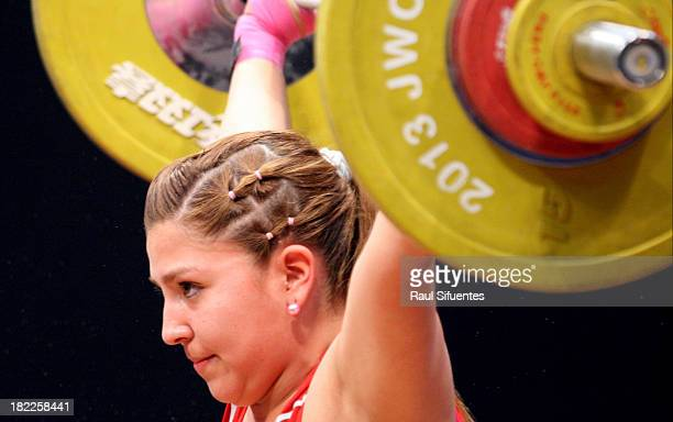 Almendra Lopez of Chile competes in Women's 63 kg as part of the I ODESUR South American Youth Games at Coliseo Miguel Grau on September 28 2013 in...