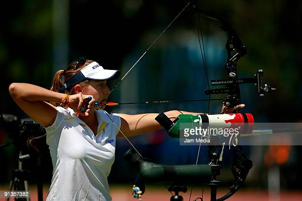 Almendra Ochoa in action during the National Championship Of Archery prior to the Central American Games and the Caribbean 2010 in Puerto Rico at the...