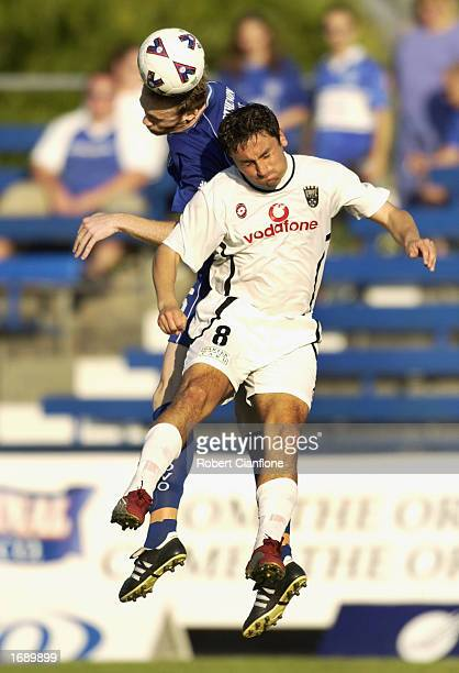 Almendra Patricio of the Kingz is challenged by his opponent during the round 13 NSL match between South Melbourne and Kingz FC played at the Bob...