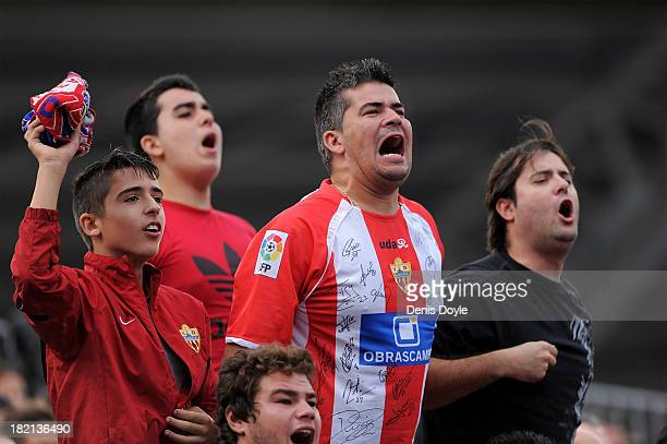 Almeria fans react during the La Liga match between UD Almeria and FC Barcelona at Estadio de los Juegos Mediterraneos on September 28 2013 in...