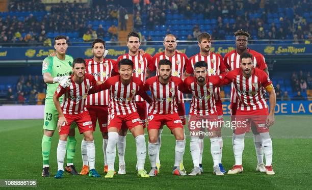 UD Almeria line up prior the Copa del Rey between Villarreal CF and UD Almeria at La Ceramica Stadium on December 5 2018 in Vilareal Spain