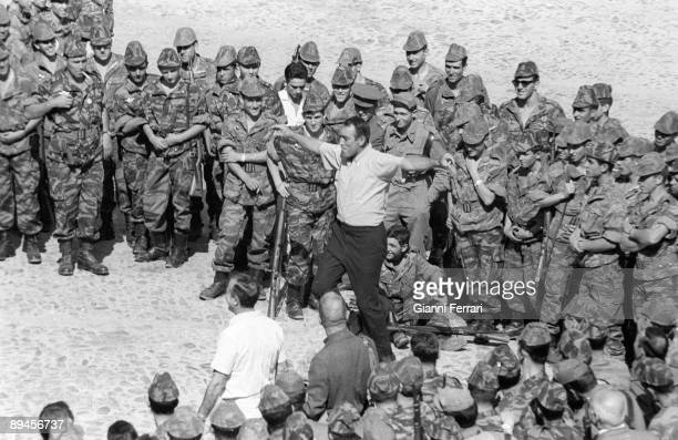 1966 Almeria Spain The actor Anthony Quinn dancing the 'sirtaki' in a pause of the filming of the movie 'Lost Command'