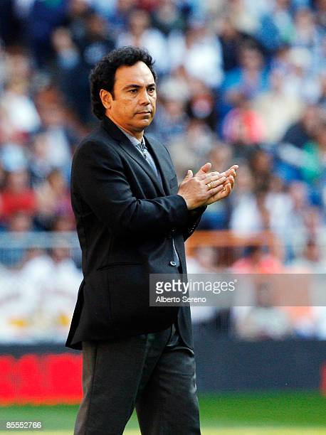 Almeria's coach Hugo Sanchez gives instructions during the Primera Liga match between Real Madrid and UD Almeria at the Santiago Bernabeu stadium on...