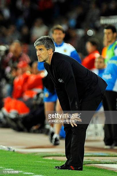 Almeria's coach Roberto Olabe gestures during the Spanish league football match UD Almeria vs Valencia on April 16 2011 at the Juegos Mediterraneos...