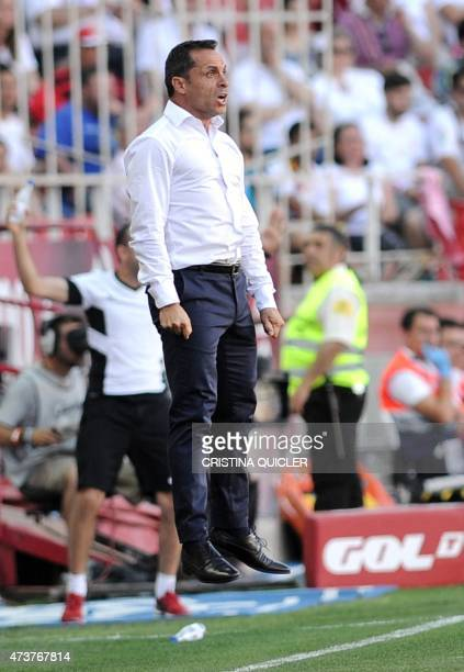 Almeria's coach Sergi BarJuan jumps in the air during the Spanish league football match Sevilla FC vs UD Almeria at the Ramon Sanchez Pizjuan stadium...