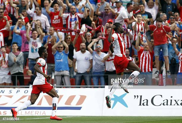 Almeria's Ghanaian midfielder Thomas Paty Partey celebrates a goal during the Spanish league football match UD Almeria vs Valencia CF at the Juegos...