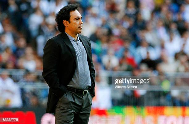 Almeria's manager Hugo Sanchez looks on during the Primera Liga match between Real Madrid and UD Almeria at the Santiago Bernabeu stadium on March 22...