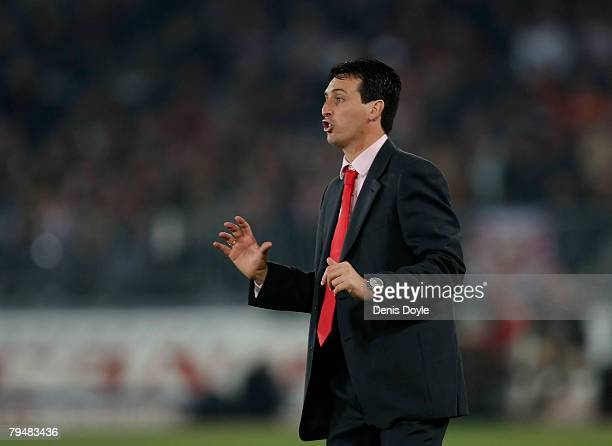Almeria's manager Unai Emery instructs his side during the La Liga match between Almeria and Real Madrid at the Juegos Mediterraneos stadium on...