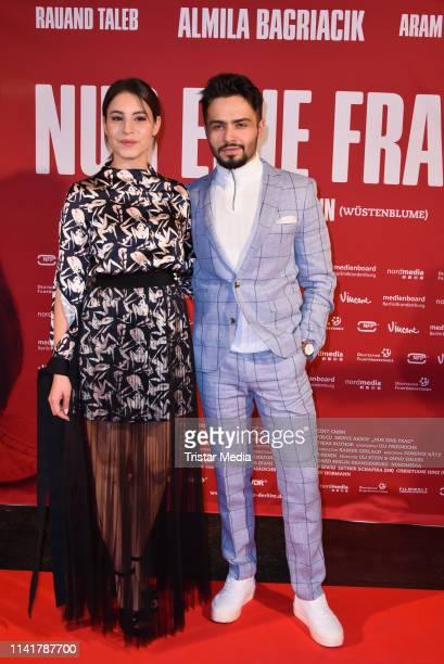 Almila Bagriacik and Aram Arami attend the 'Nur eine Frau' premiere at Kino International movie theater on May 6, 2019 in Berlin, Germany.