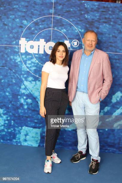 Almila Bagriacik and Axel Milberg during the 'Tatort' photo call on July 12 2018 in Hamburg Germany