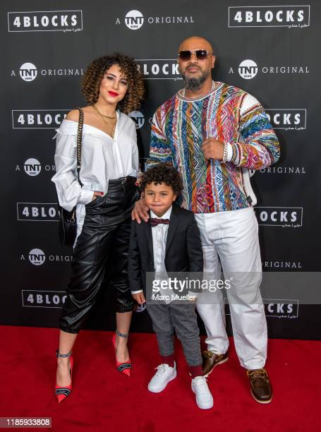 Almila Bagriacik Isaiah Corr and Massiv attend the PreviewScreening of TNT Serie Original 4 Blocks held by TNT Serie at Gloria Palast and...