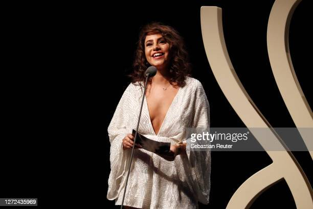 Almila Bagriacik speaks on stage at the Deutscher Schauspielpreis 2020 at Spindler & Klatt on September 11, 2020 in Berlin, Germany.