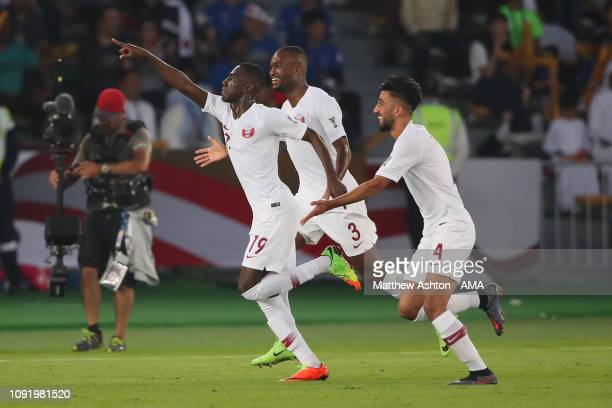 Almoez Ali of Qatar celebrates scoring the first goal to make it 0-1 during the AFC Asian Cup final match between Japan and Qatar at Zayed Sports...