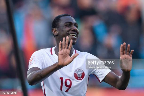 Almoez Ali of Qatar celebrating his score during the AFC U23 Championship China 2018 Group A match between China and Qatar at Changzhou Olympic...