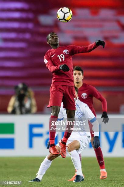 Almoez Ali of Qatar controls the ball during the AFC U23 Championship China 2018 Group A match between Qatar and Uzbekistan at Changzhou Olympic...