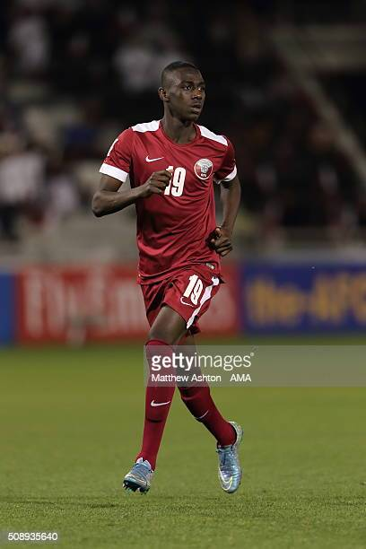 Almoez Ali of Qatar during the AFC U23 Championship semi final match between South Korea v Qatar at the Abdullah Bin Khalifa Stadium on January 26...