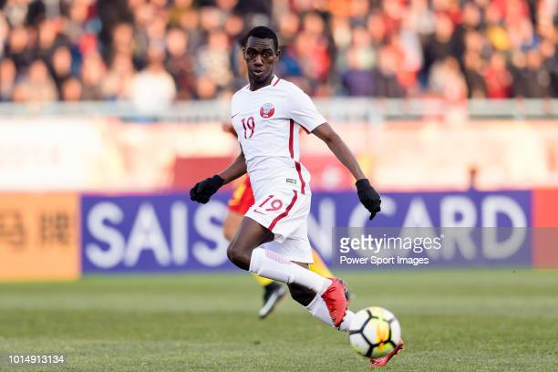 Almoez Ali of Qatar in action during the AFC U23 Championship China 2018 Group A match between China and Qatar at Changzhou Olympic Sports Centre on...