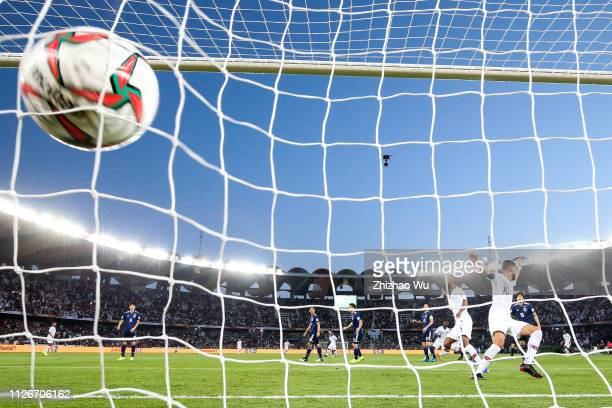 Almoez Ali of Qatar scoring the opening goal during the AFC Asian Cup final match between Japan and Qatar at Zayed Sports City Stadium on February...