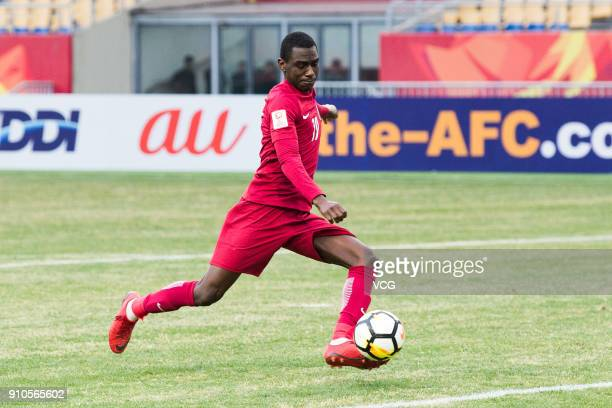 Almoez Ali of Qatar shoots the ball during the AFC U23 Championship China 2018 third place play off match between Qatar and South Korea at Kunshan...