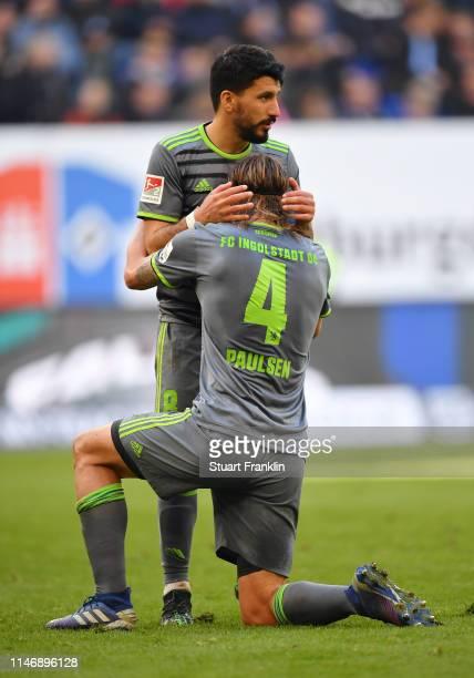 Almog Cohen and Bjorn Paulsen of FC Ingolstadt 04 celebrate during the Second Bundesliga match between Hamburger SV and FC Ingolstadt 04 at...