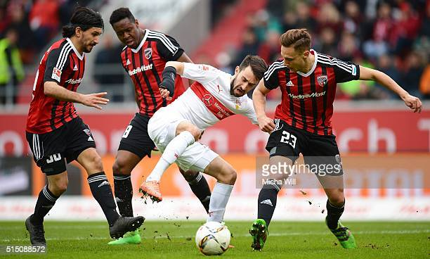 Almog Cohen of Ingolstadt Bernardo De Oliviera of Ingolstadt Lukas Rupp of Stuttgart and Robert Bauer of Ingolstadt compete for the ball during the...
