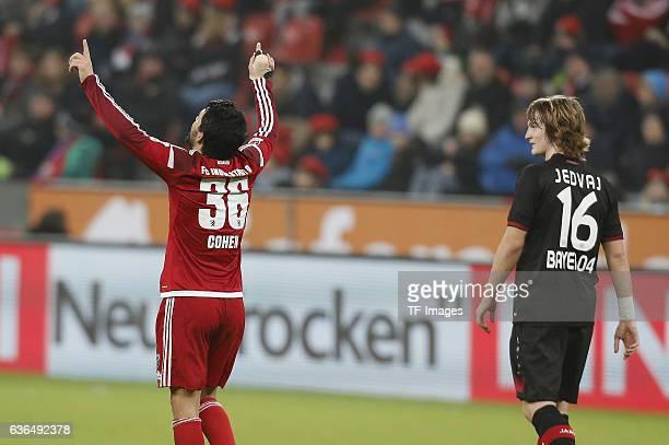 Almog Cohen of Ingolstadt celebrates after scoring during the Bundesliga match between Bayer 04 Leverkusen and FC Ingolstadt 04 at BayArena on...