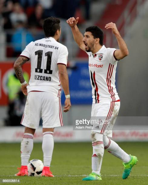 Almog Cohen of Ingolstadt celebrates his team's second goal with team mate Dario Lezcano during the Bundesliga match between FC Ingolstadt 04 and SV...