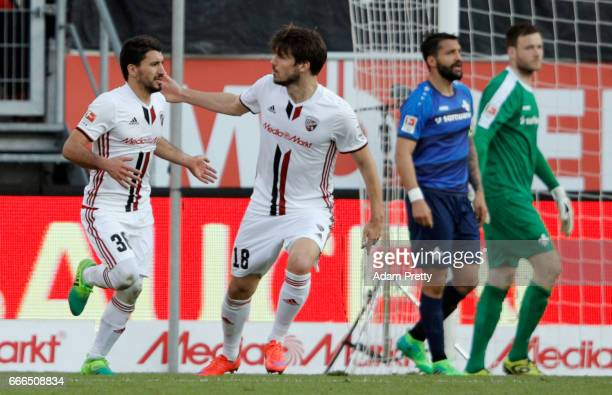 Almog Cohen of Ingolstadt celebrates his team's second goal with team mateRomain Bregerie during the Bundesliga match between FC Ingolstadt 04 and SV...