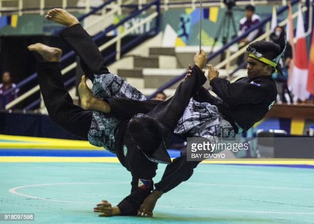 Almohaidib Abad and Alfau Jan Abad of Philippines perform during men's double final of Asian Games 2018 test event in Jakarta on February 14 2018 /...