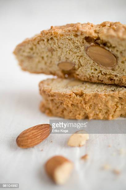 Almond biscotti and almond on cloth