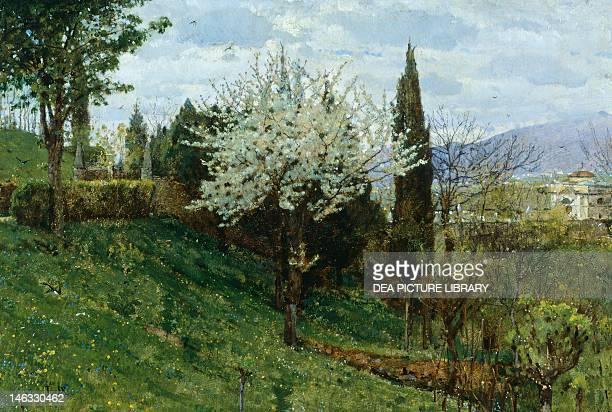 Almond Blossom by Luigi Nono oil on panel 40x28 cm