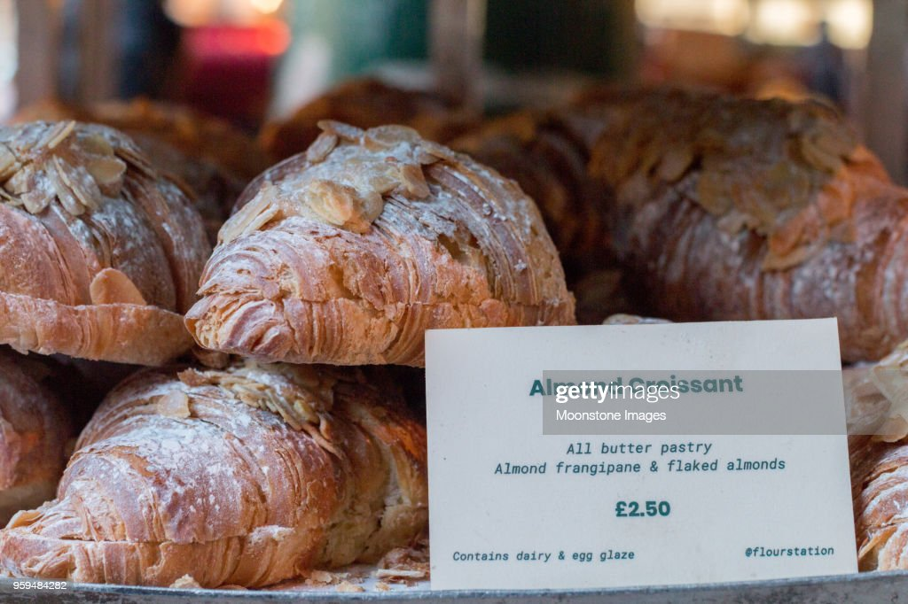 Almond Croissant in Borough Market, London : Stock Photo