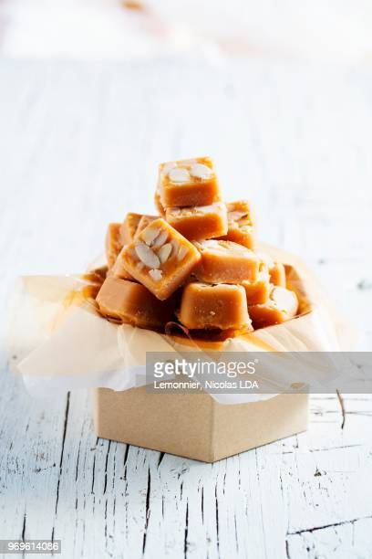 almond fudge - fudge stock pictures, royalty-free photos & images