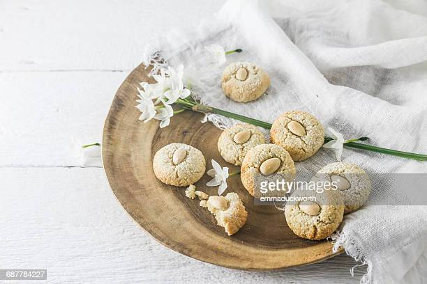 Almond macaroons on plate