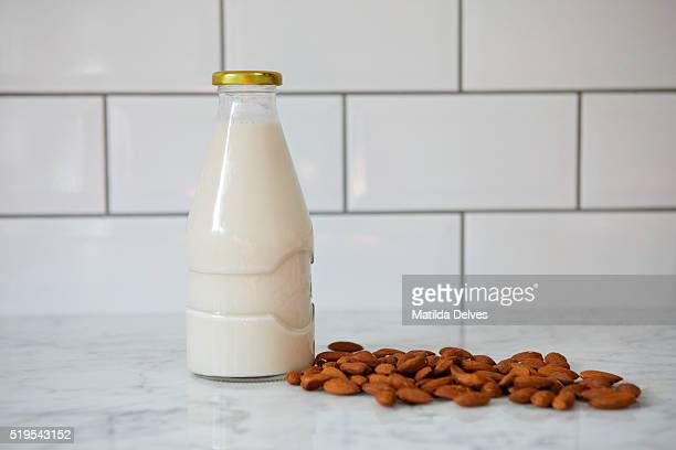 Almond milk in a glass bottle