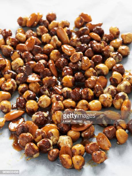 Almonds and hazelnuts coated in caramel for pralin
