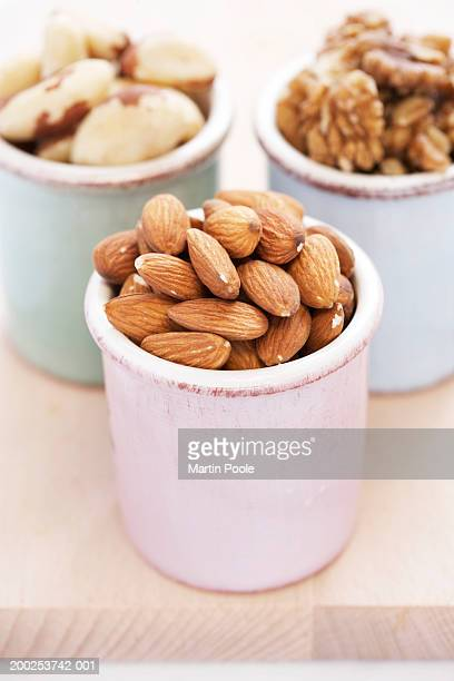 almonds, walnuts and brazilian nuts in containers, close-up - brazil nut stock photos and pictures
