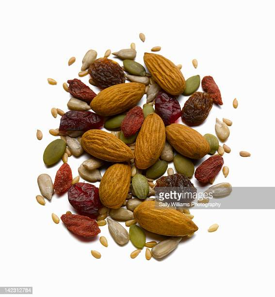 Almonds with a selection of dried fruit and seeds
