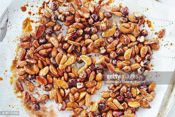 Almonds With Syrup On Baking Sheet