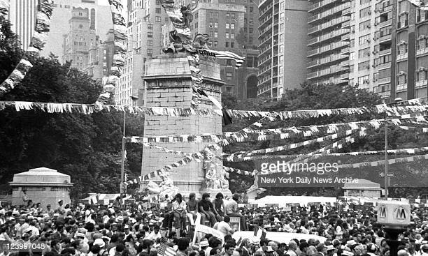 Almost 3000 people jam into Columbus Circle for Italian Unity Day Violence shattered the planned ceremonies before they got started when a man...