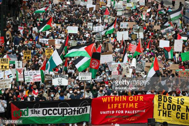Almost a thousand of people are gathered in front of the consulate general of Israel to protest Israeli attacks on Gaza and Al-Aqsa mosque and take...