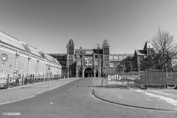 Almost deserted streets and square at the Rijksmuseum in Amsterdam during a weekday morning following the advice of the Dutch government to stay at...