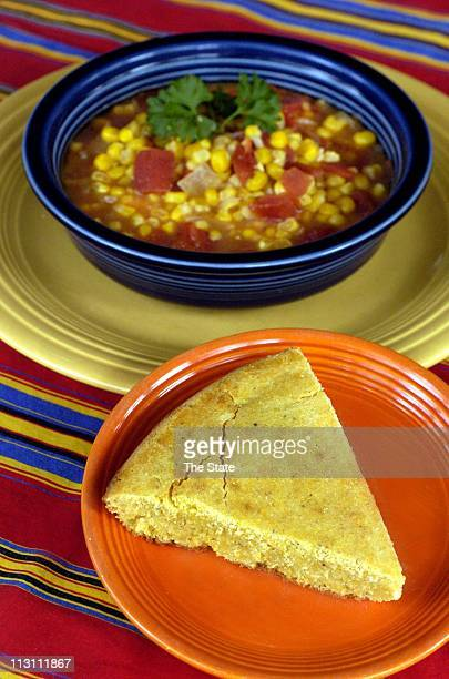 Almost Ebbie's Corn and Tomato Soup served with cornbread makes an inexpensive complete meal The soup is a cheap recipe from Cheap Fast Good by...