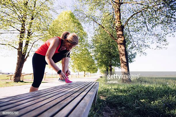 almost ready for a jog - lace fastener stock pictures, royalty-free photos & images